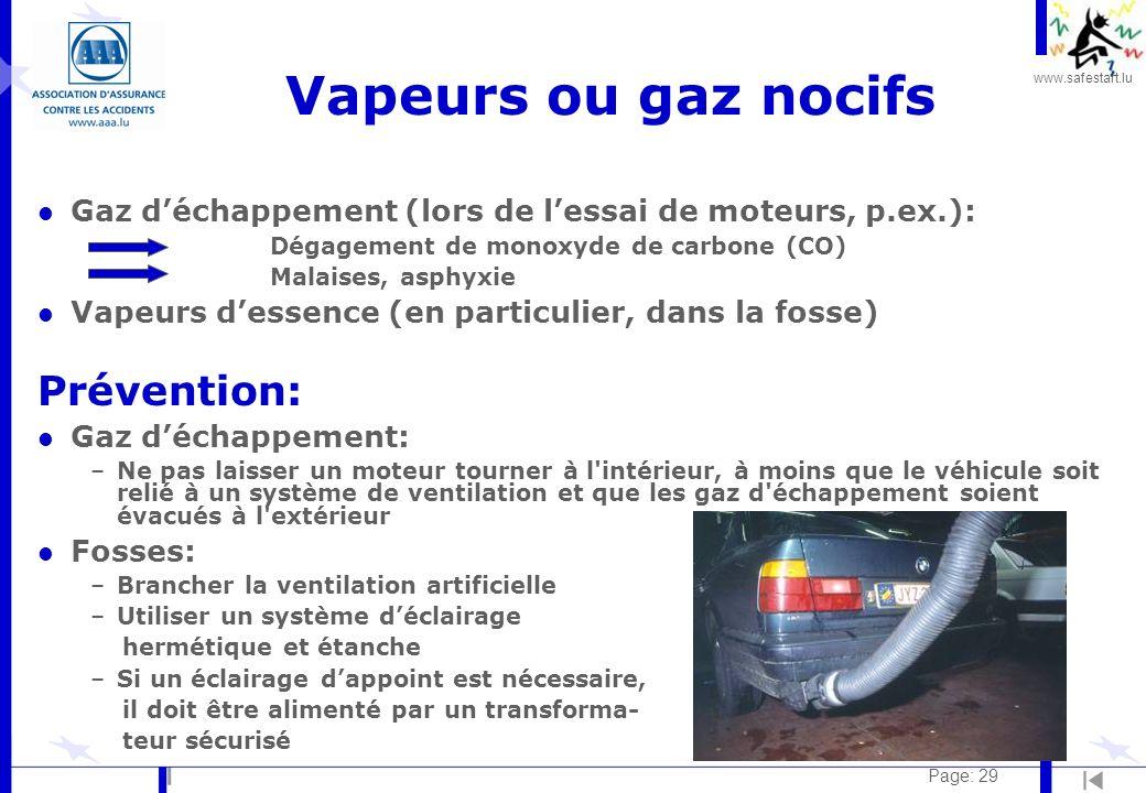 www.safestart.lu Page: 29 Vapeurs ou gaz nocifs l Gaz déchappement (lors de lessai de moteurs, p.ex.): – Dégagement de monoxyde de carbone (CO) – Mala
