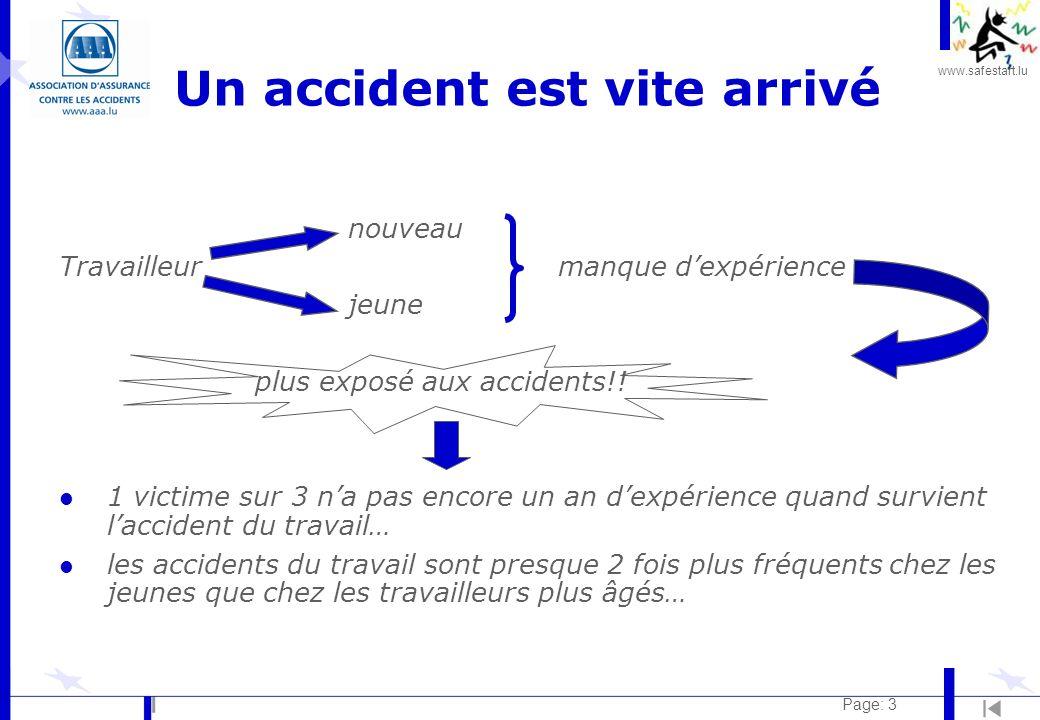 www.safestart.lu Page: 3 Un accident est vite arrivé nouveau Travailleur manque dexpérience jeune plus exposé aux accidents!! l 1 victime sur 3 na pas