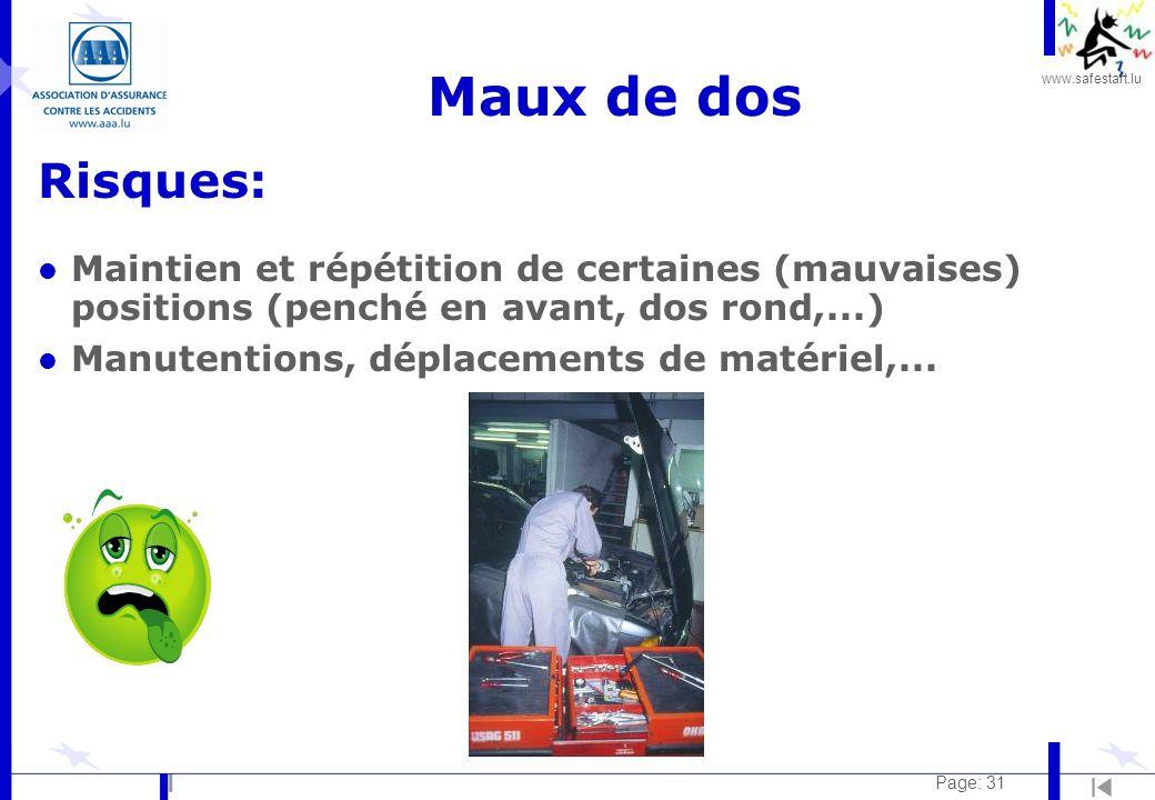 www.safestart.lu Page: 31 Maux de dos Risques: l Maintien et répétition de certaines (mauvaises) positions (penché en avant, dos rond,...) l Manutenti