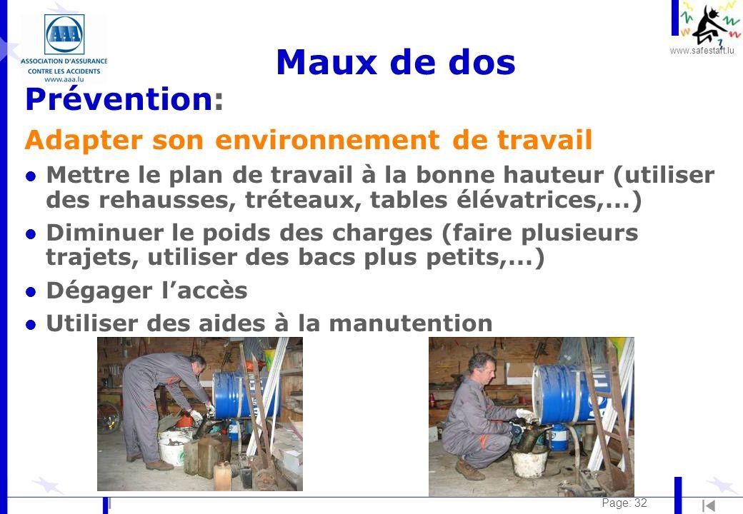 www.safestart.lu Page: 32 Maux de dos Prévention: Adapter son environnement de travail l Mettre le plan de travail à la bonne hauteur (utiliser des re