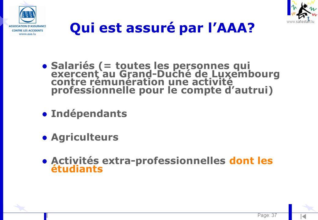 www.safestart.lu Page: 37 Qui est assuré par lAAA? l Salariés (= toutes les personnes qui exercent au Grand-Duché de Luxembourg contre rémunération un