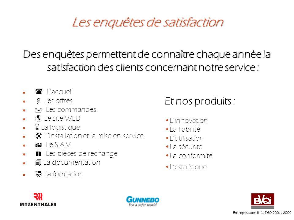 Entreprise certifiée ISO 9001 : 2000 Les enquêtes de satisfaction Des enquêtes permettent de connaître chaque année la satisfaction des clients concer