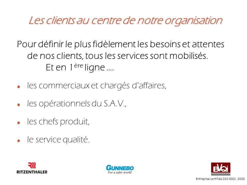 Entreprise certifiée ISO 9001 : 2000 Les clients au centre de notre organisation Les clients au centre de notre organisation Pour définir le plus fidè