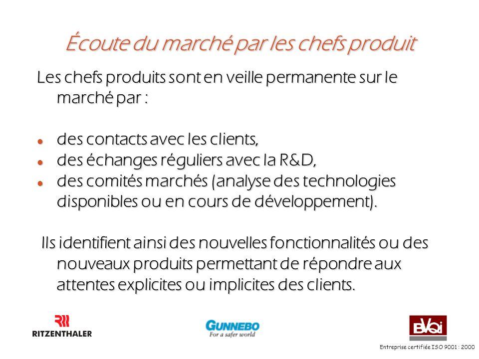 Entreprise certifiée ISO 9001 : 2000 Écoute du marché par les chefs produit Les chefs produits sont en veille permanente sur le marché par : l des con