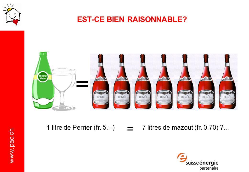 www.pac.ch 1 litre de Perrier (fr.5.--) = 7 litres de mazout (fr.