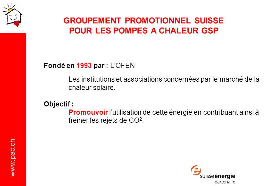 www.pac.ch Fondé en 1993 par : LOFEN Les institutions et associations concernées par le marché de la chaleur solaire.