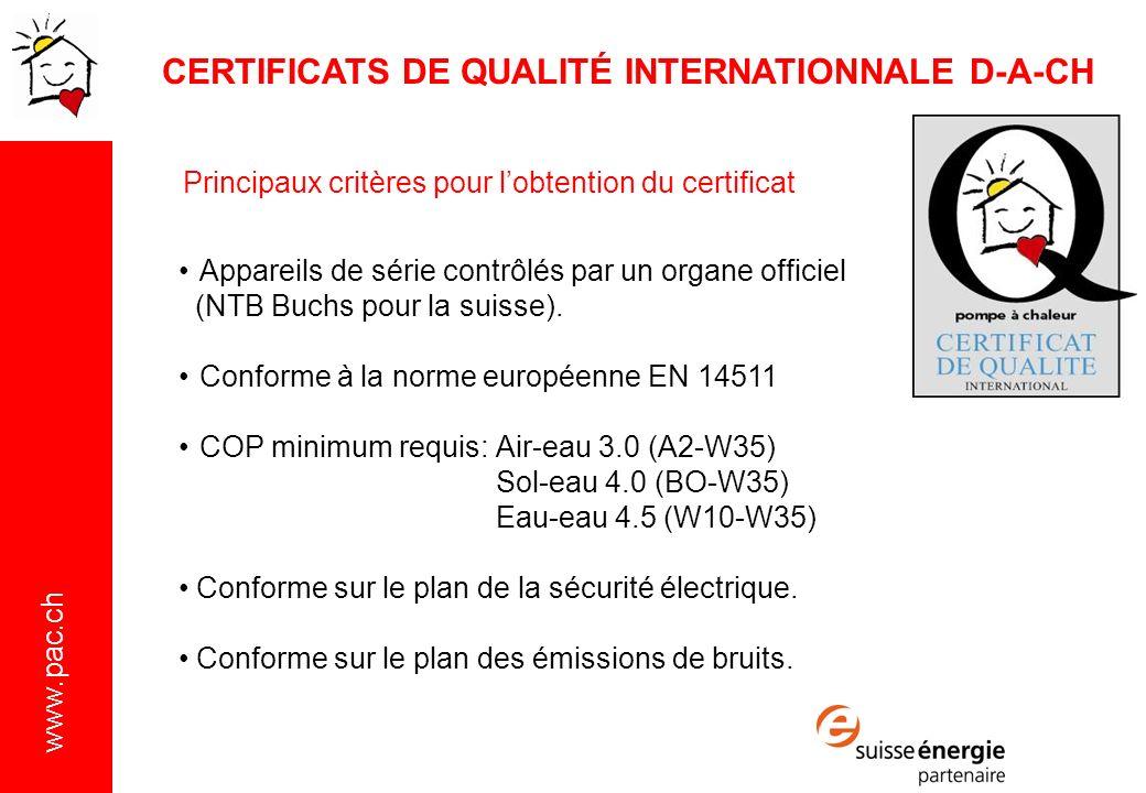 www.pac.ch Appareils de série contrôlés par un organe officiel (NTB Buchs pour la suisse).