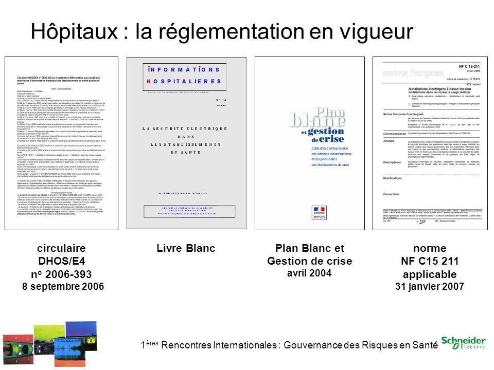 1 ères Rencontres Internationales : Gouvernance des Risques en Santé Hôpitaux : la réglementation en vigueur circulaire DHOS/E4 n o 2006-393 8 septemb