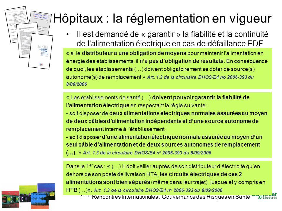1 ères Rencontres Internationales : Gouvernance des Risques en Santé Hôpitaux : la réglementation en vigueur Il est demandé de « garantir » la fiabili
