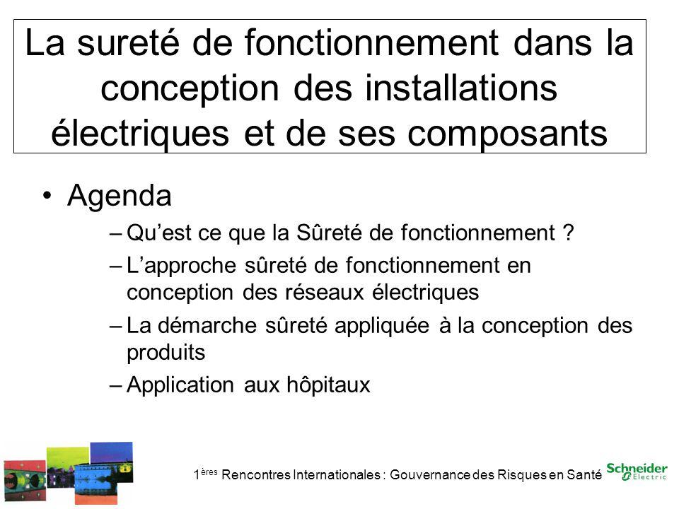 1 ères Rencontres Internationales : Gouvernance des Risques en Santé La sureté de fonctionnement dans la conception des installations électriques et d