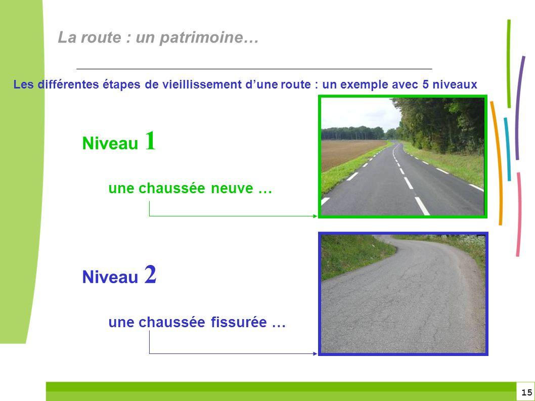 15 Les différentes étapes de vieillissement dune route : un exemple avec 5 niveaux Niveau 1 une chaussée neuve … Niveau 2 une chaussée fissurée … La route : un patrimoine…