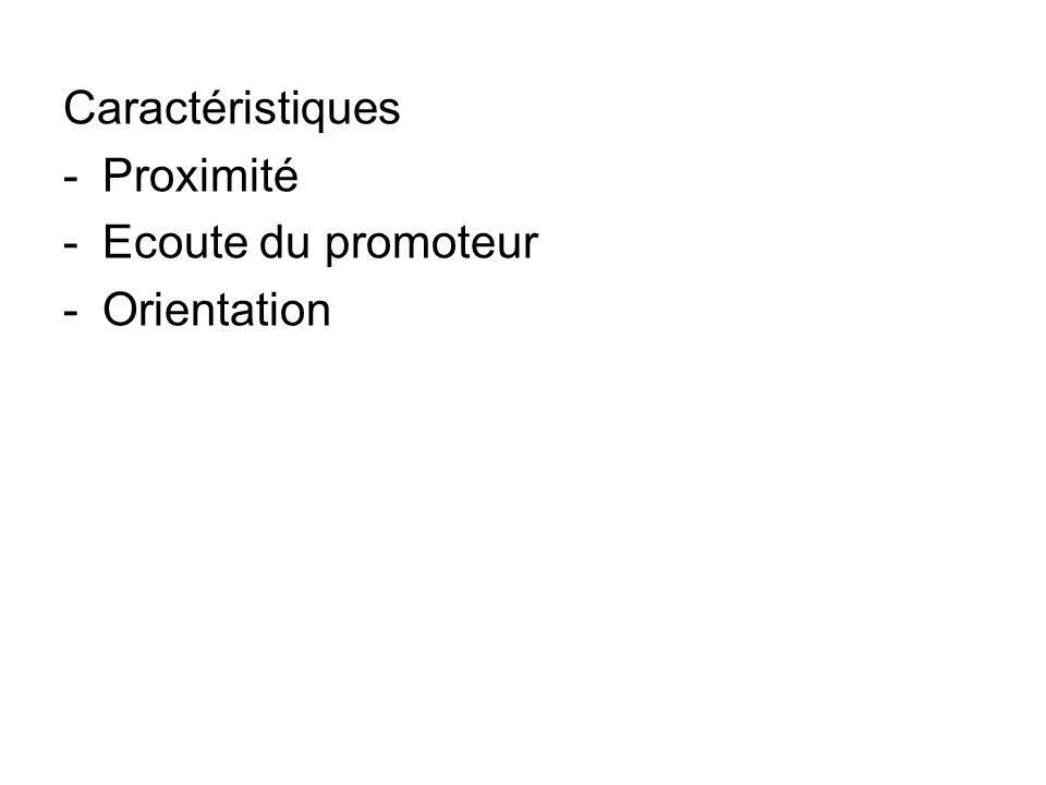 Caractéristiques -Proximité -Ecoute du promoteur -Orientation