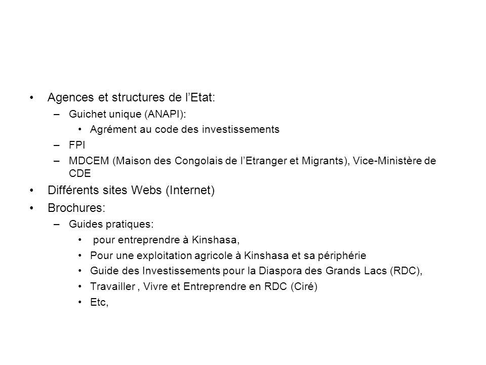 Agences et structures de lEtat: –Guichet unique (ANAPI): Agrément au code des investissements –FPI –MDCEM (Maison des Congolais de lEtranger et Migrants), Vice-Ministère de CDE Différents sites Webs (Internet) Brochures: –Guides pratiques: pour entreprendre à Kinshasa, Pour une exploitation agricole à Kinshasa et sa périphérie Guide des Investissements pour la Diaspora des Grands Lacs (RDC), Travailler, Vivre et Entreprendre en RDC (Ciré) Etc,