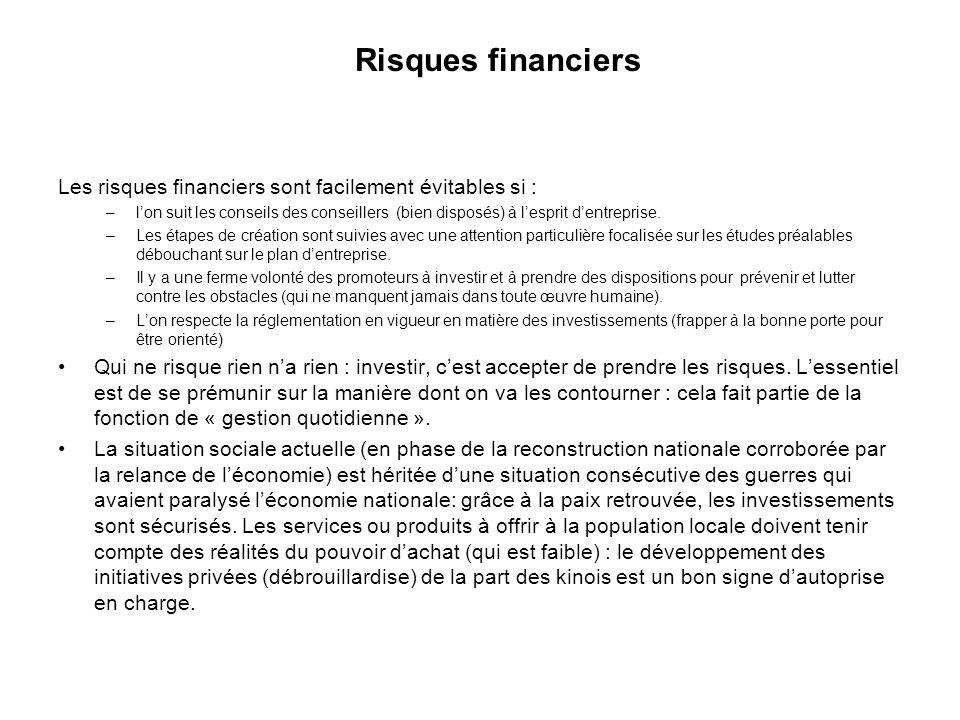 Risques financiers Les risques financiers sont facilement évitables si : –lon suit les conseils des conseillers (bien disposés) à lesprit dentreprise.