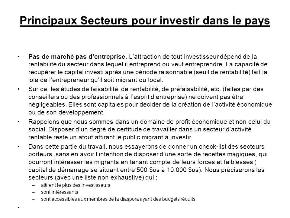 Principaux Secteurs pour investir dans le pays Pas de marché pas dentreprise.