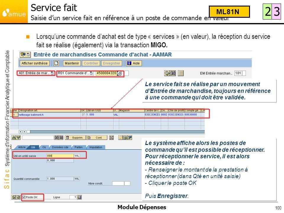 S i f a c Système dInformation Financier Analytique et Comptable Module Dépenses 100 Lorsquune commande dachat est de type « services » (en valeur), l