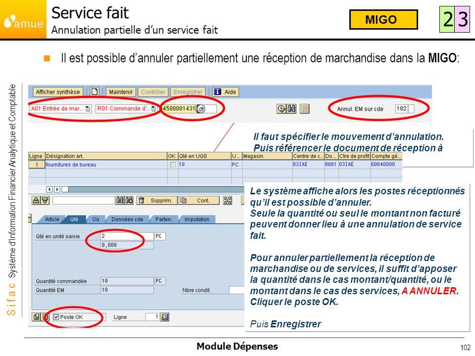 S i f a c Système dInformation Financier Analytique et Comptable Module Dépenses 102 Il est possible dannuler partiellement une réception de marchandi