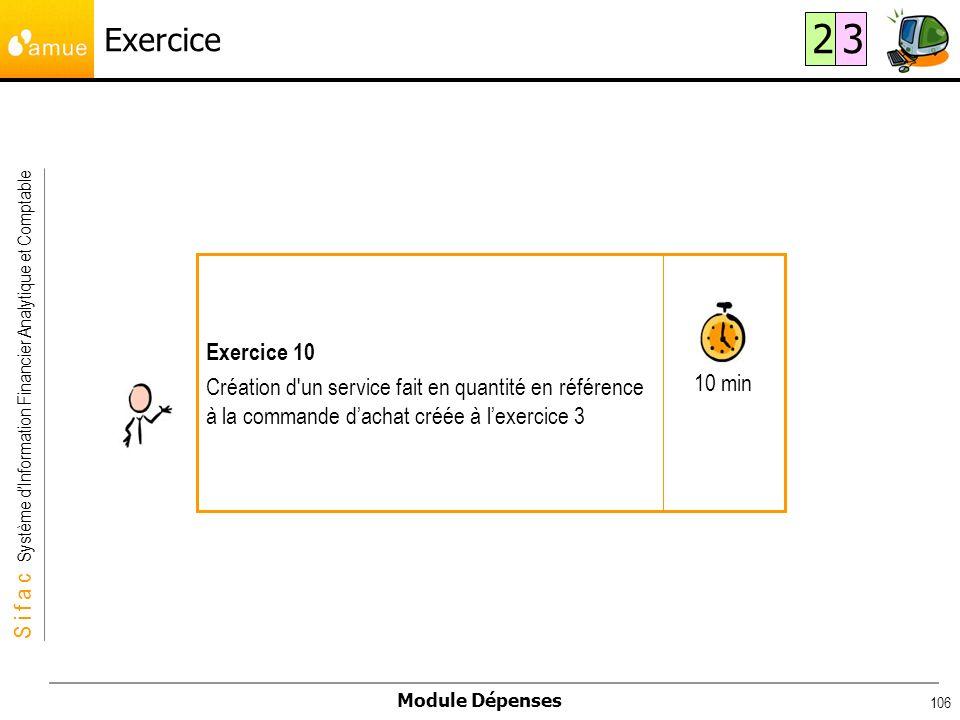 S i f a c Système dInformation Financier Analytique et Comptable Module Dépenses 106 Exercice 10 min Exercice 10 Création d'un service fait en quantit