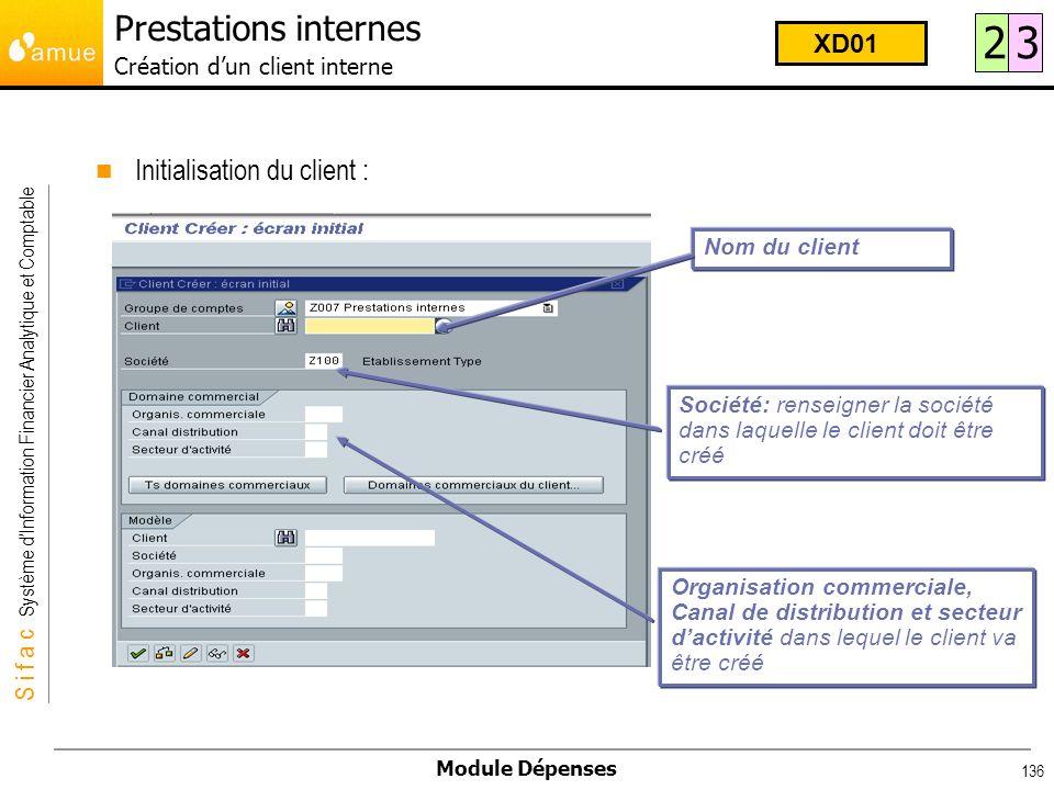 S i f a c Système dInformation Financier Analytique et Comptable Module Dépenses 136 Initialisation du client : Prestations internes Création dun clie