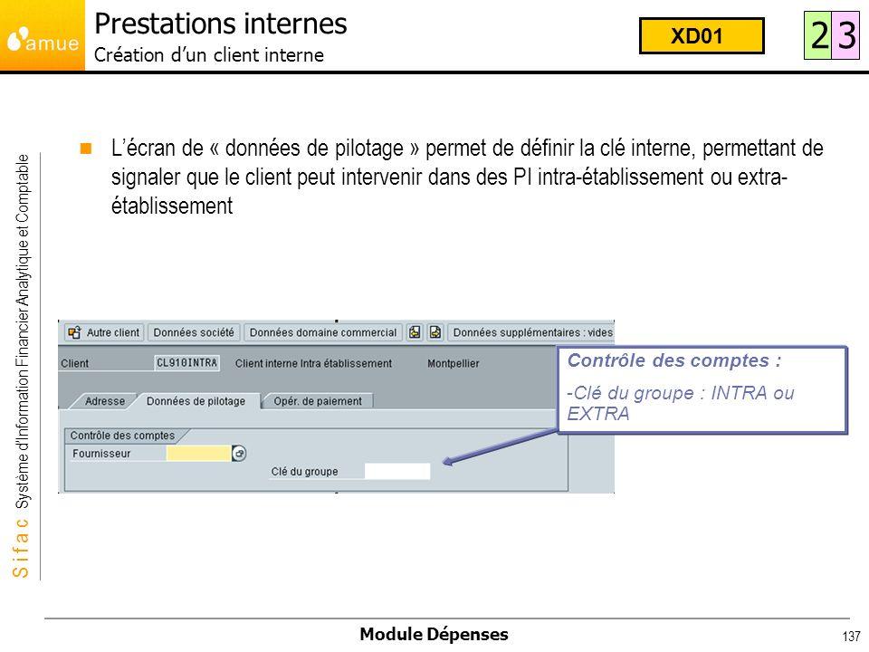 S i f a c Système dInformation Financier Analytique et Comptable Module Dépenses 137 Lécran de « données de pilotage » permet de définir la clé intern