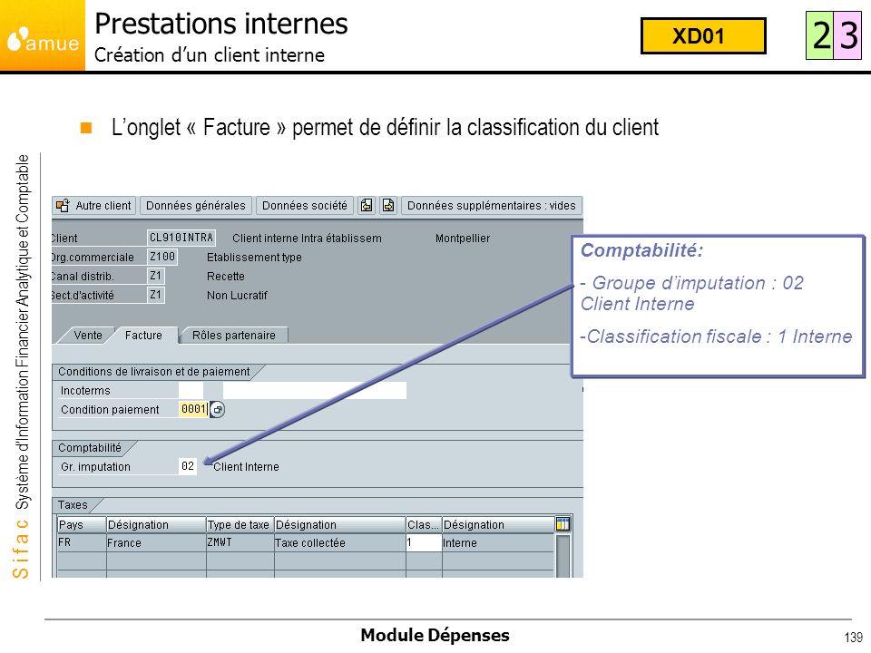 S i f a c Système dInformation Financier Analytique et Comptable Module Dépenses 139 Longlet « Facture » permet de définir la classification du client