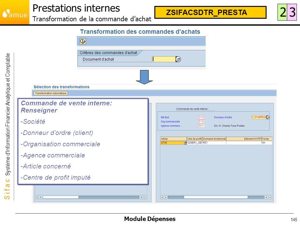 S i f a c Système dInformation Financier Analytique et Comptable Module Dépenses 145 Prestations internes Transformation de la commande dachat 23 ZSIF