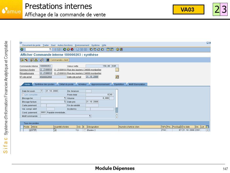 S i f a c Système dInformation Financier Analytique et Comptable Module Dépenses 147 23 VA03 Prestations internes Affichage de la commande de vente