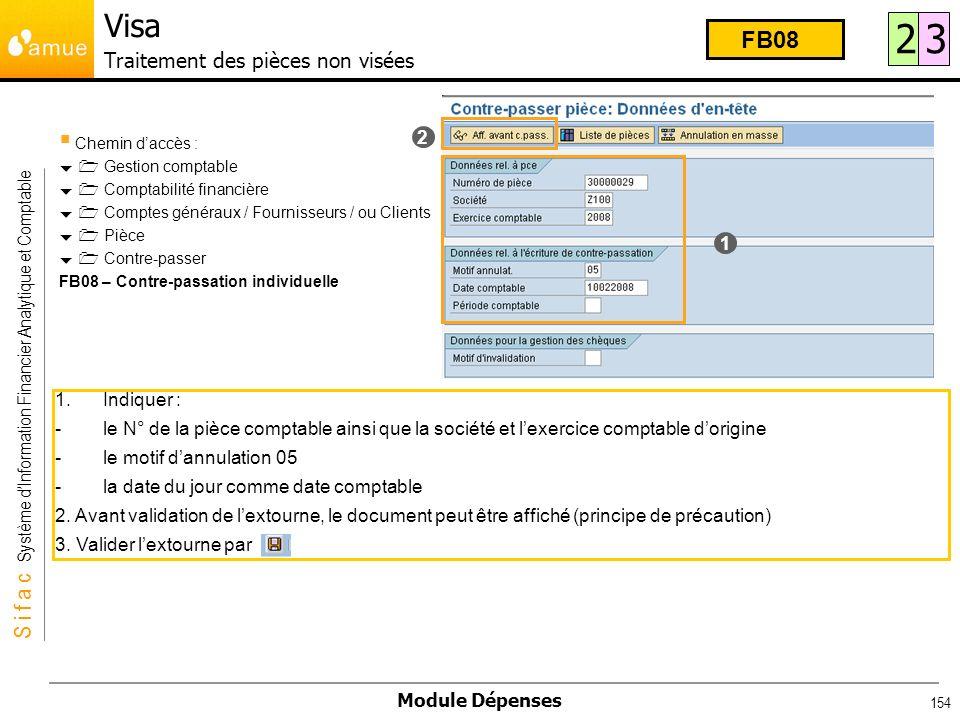 S i f a c Système dInformation Financier Analytique et Comptable Module Dépenses 154 Chemin daccès : Gestion comptable Comptabilité financière Comptes