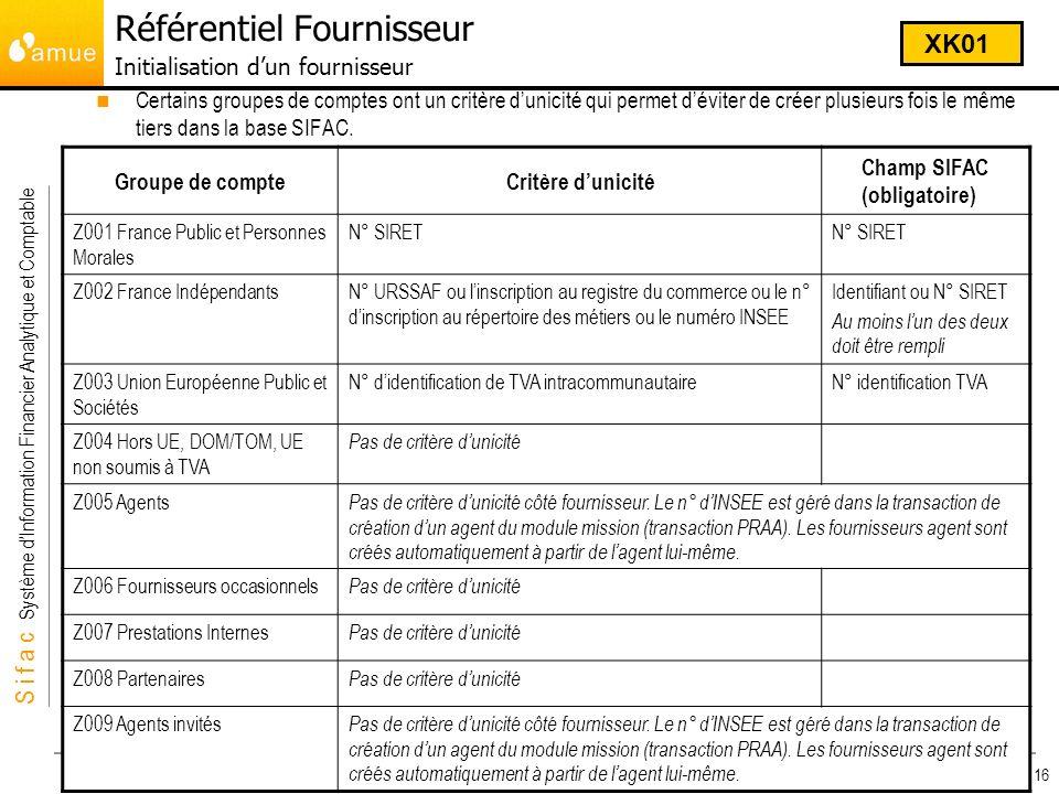 S i f a c Système dInformation Financier Analytique et Comptable Module Dépenses 16 Certains groupes de comptes ont un critère dunicité qui permet dév