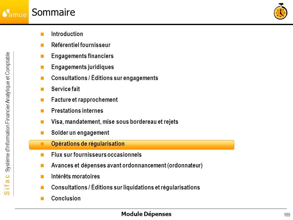 S i f a c Système dInformation Financier Analytique et Comptable Module Dépenses 165 Introduction Référentiel fournisseur Engagements financiers Engag