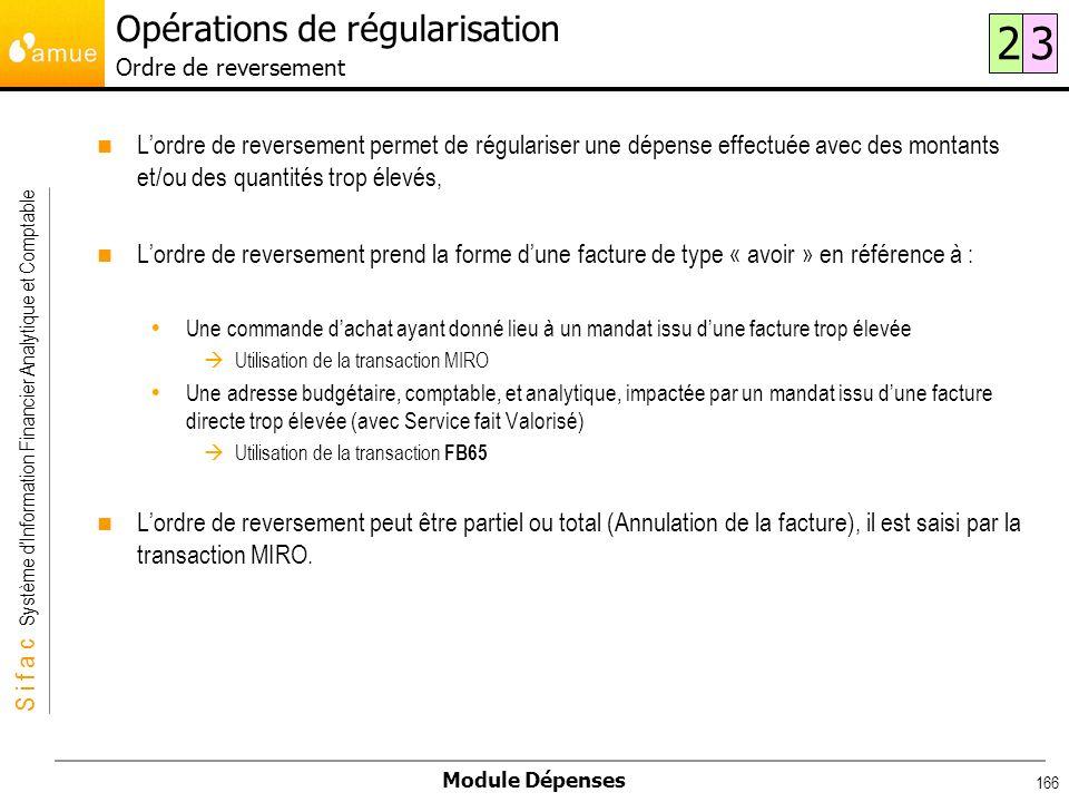 S i f a c Système dInformation Financier Analytique et Comptable Module Dépenses 166 Lordre de reversement permet de régulariser une dépense effectuée