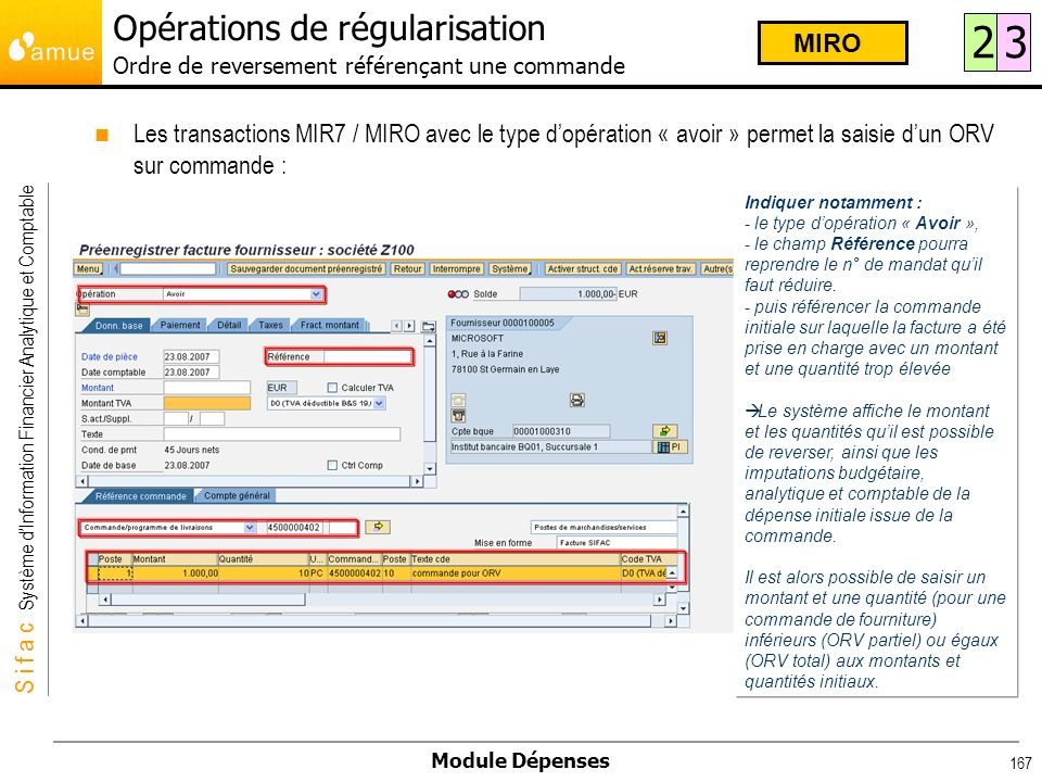 S i f a c Système dInformation Financier Analytique et Comptable Module Dépenses 167 Les transactions MIR7 / MIRO avec le type dopération « avoir » pe