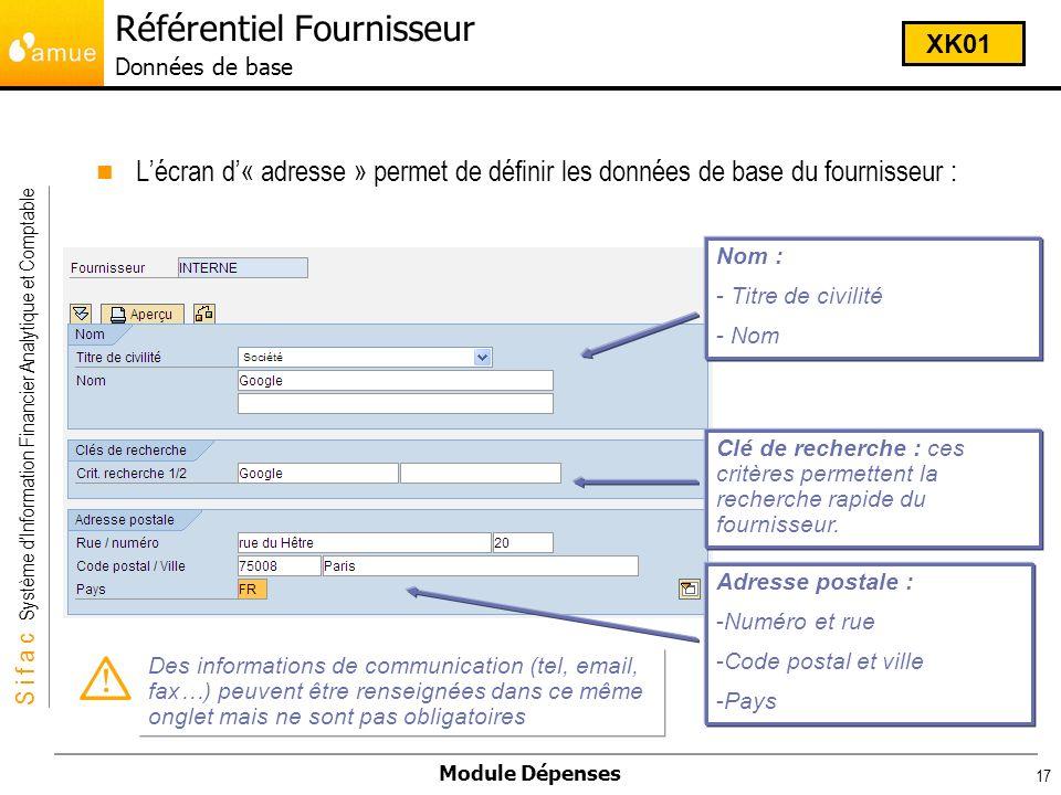 S i f a c Système dInformation Financier Analytique et Comptable Module Dépenses 17 Lécran d« adresse » permet de définir les données de base du fourn