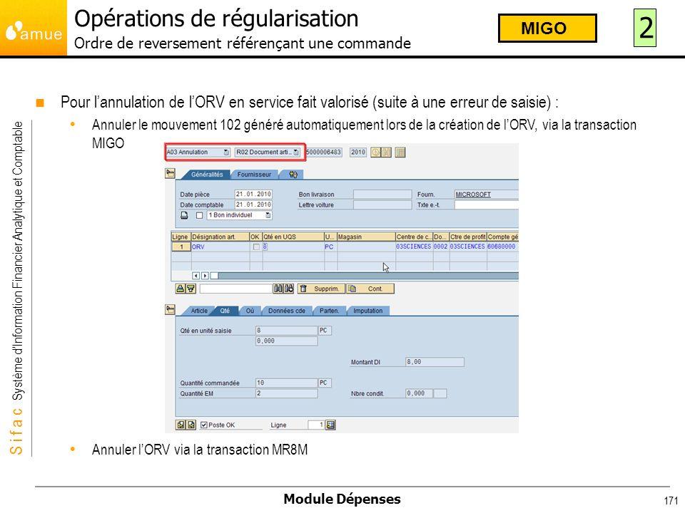 S i f a c Système dInformation Financier Analytique et Comptable Module Dépenses 171 Pour lannulation de lORV en service fait valorisé (suite à une er