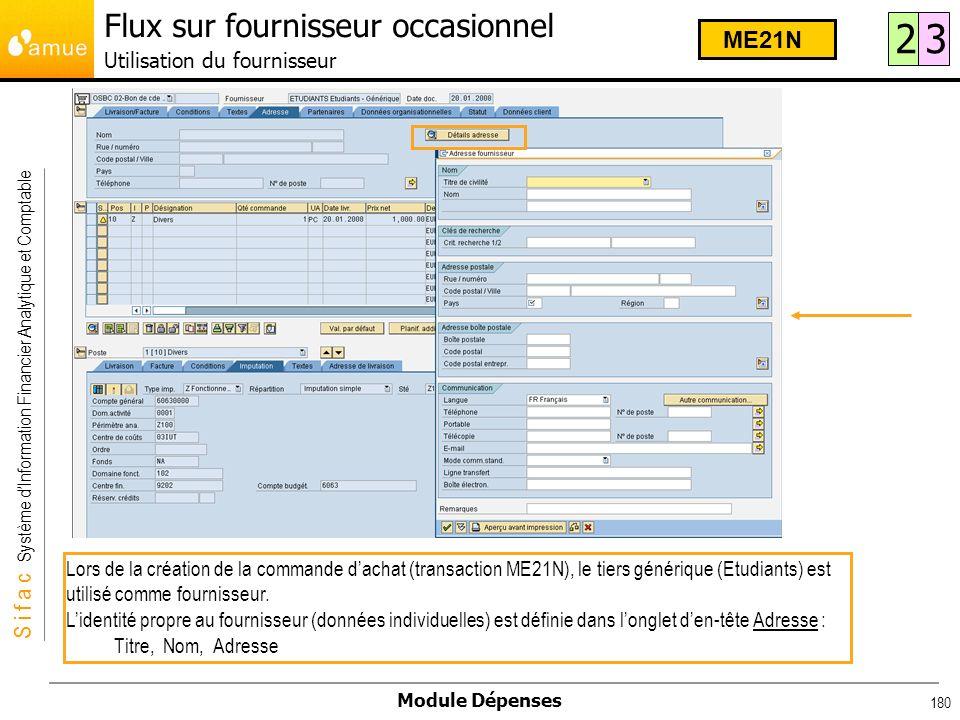 S i f a c Système dInformation Financier Analytique et Comptable Module Dépenses 180 Lors de la création de la commande dachat (transaction ME21N), le
