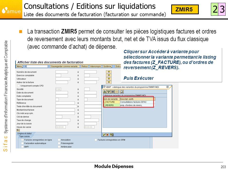 S i f a c Système dInformation Financier Analytique et Comptable Module Dépenses 203 La transaction ZMIR5 permet de consulter les pièces logistiques f