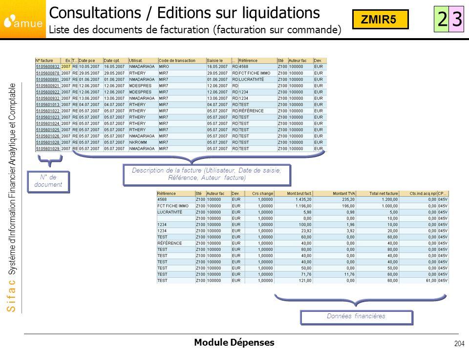 S i f a c Système dInformation Financier Analytique et Comptable Module Dépenses 204 Description de la facture (Utilisateur, Date de saisie, Référence