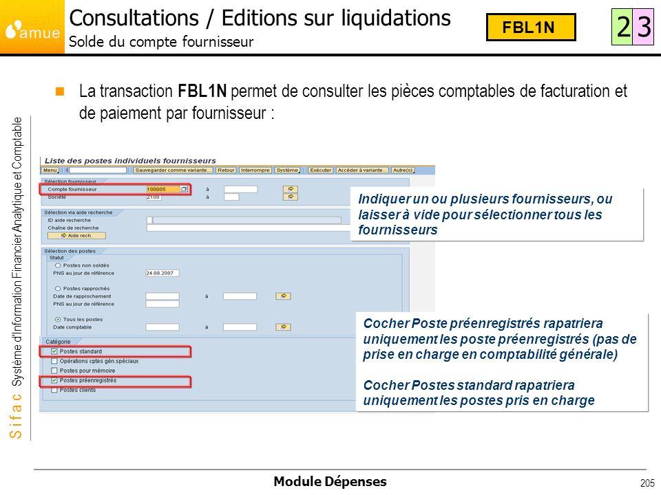 S i f a c Système dInformation Financier Analytique et Comptable Module Dépenses 205 La transaction FBL1N permet de consulter les pièces comptables de