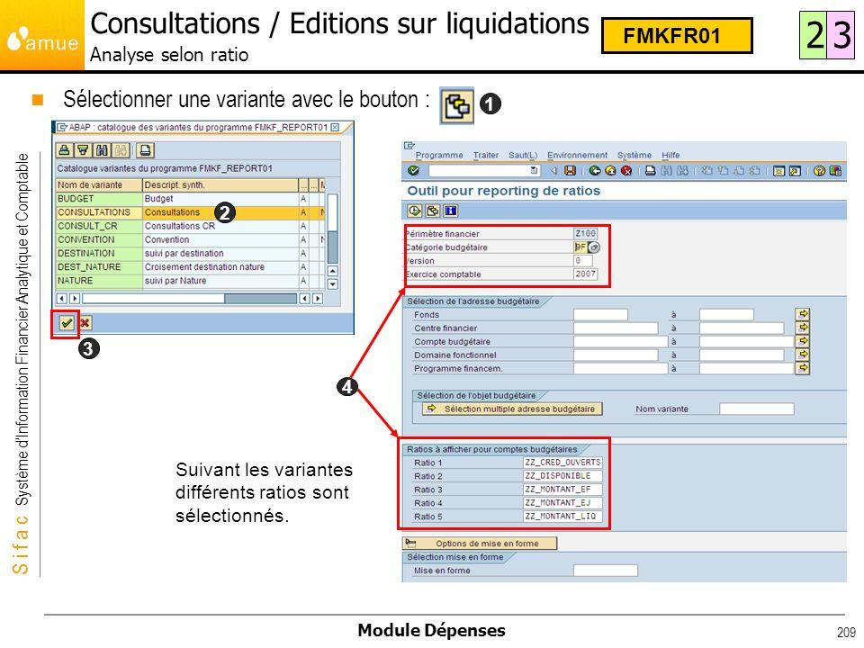 S i f a c Système dInformation Financier Analytique et Comptable Module Dépenses 209 Sélectionner une variante avec le bouton : 1 2 3 4 Suivant les va