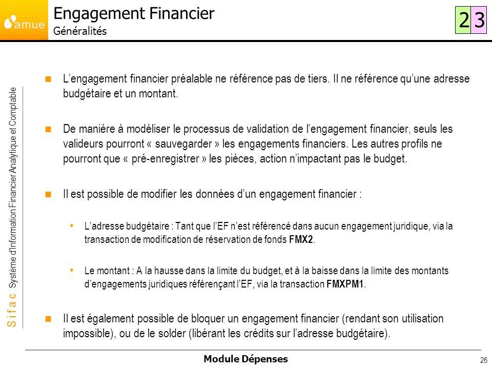 S i f a c Système dInformation Financier Analytique et Comptable Module Dépenses 26 Lengagement financier préalable ne référence pas de tiers. Il ne r