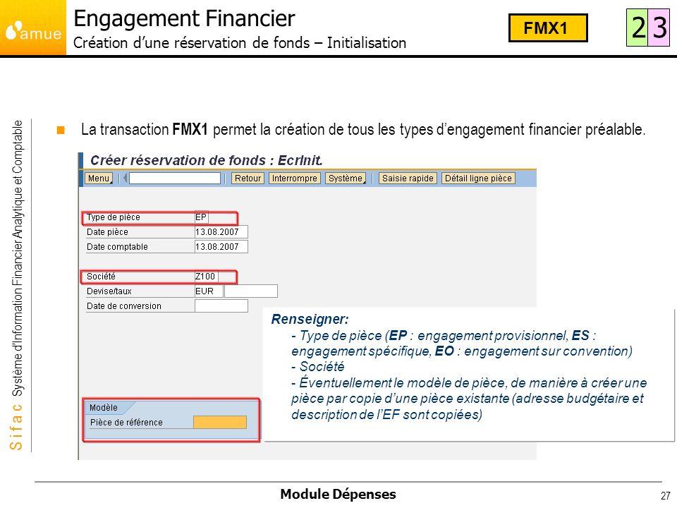 S i f a c Système dInformation Financier Analytique et Comptable Module Dépenses 27 La transaction FMX1 permet la création de tous les types dengageme