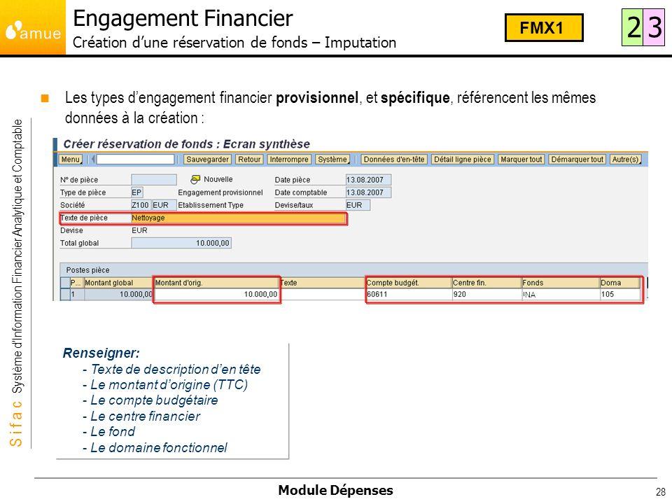 S i f a c Système dInformation Financier Analytique et Comptable Module Dépenses 28 Les types dengagement financier provisionnel, et spécifique, référ