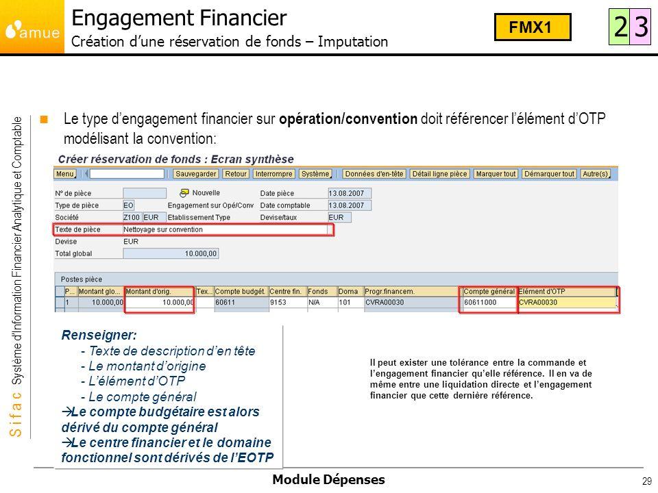S i f a c Système dInformation Financier Analytique et Comptable Module Dépenses 29 Le type dengagement financier sur opération/convention doit référe