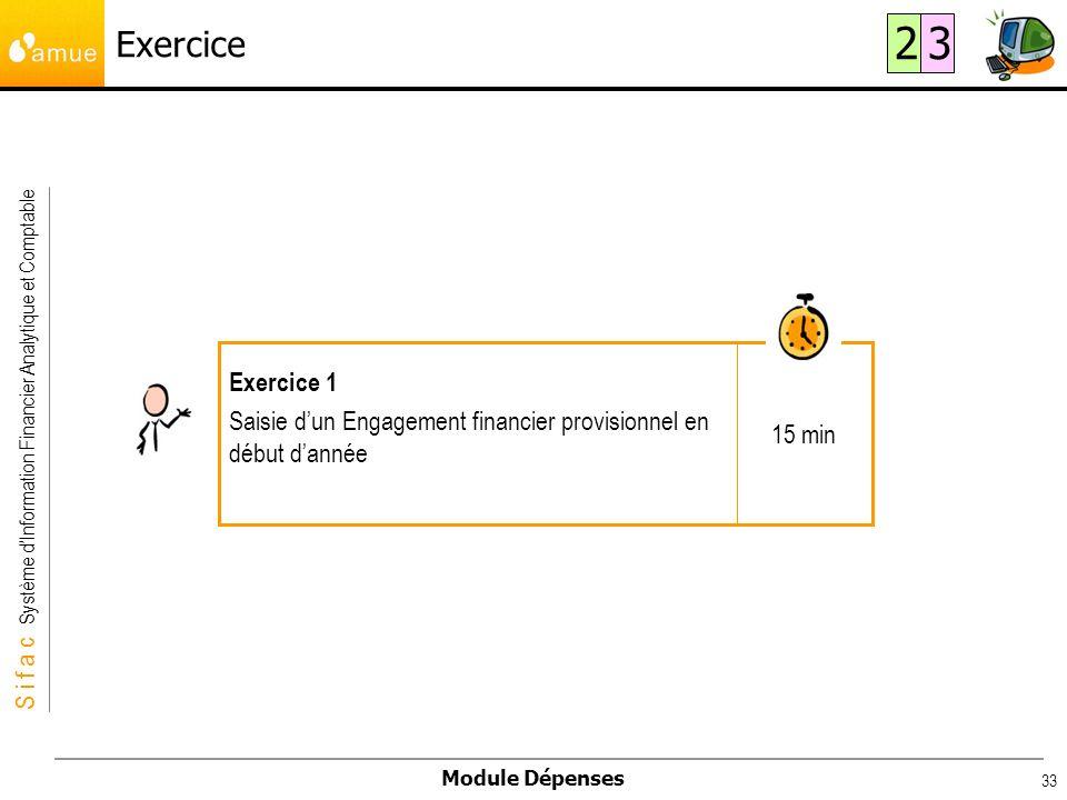 S i f a c Système dInformation Financier Analytique et Comptable Module Dépenses 33 Exercice 15 min Exercice 1 Saisie dun Engagement financier provisi