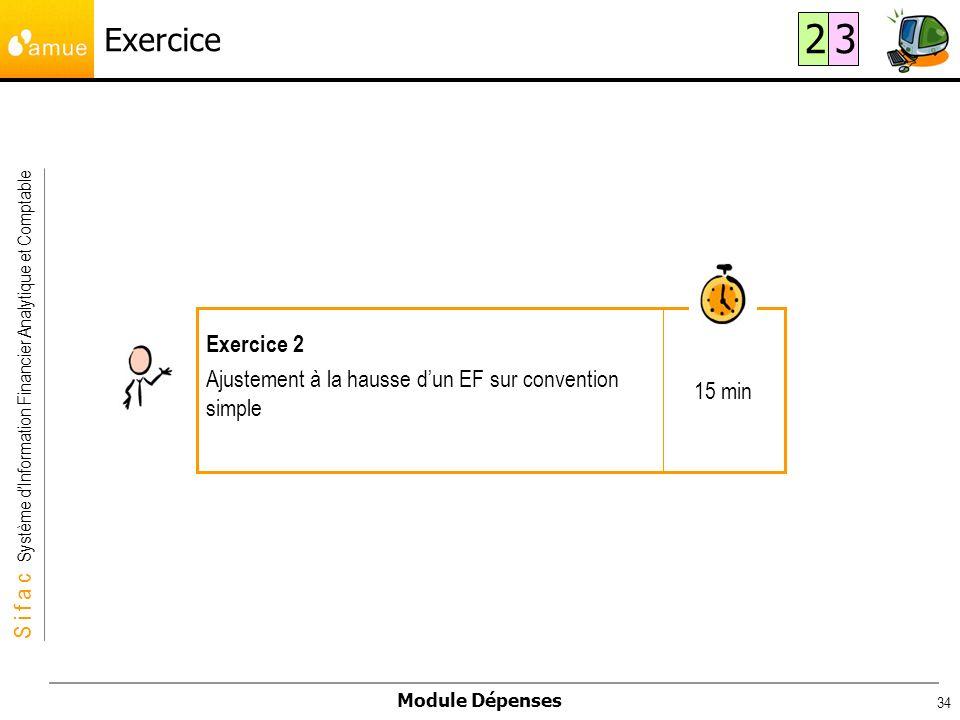S i f a c Système dInformation Financier Analytique et Comptable Module Dépenses 34 15 min Exercice 2 Ajustement à la hausse dun EF sur convention sim