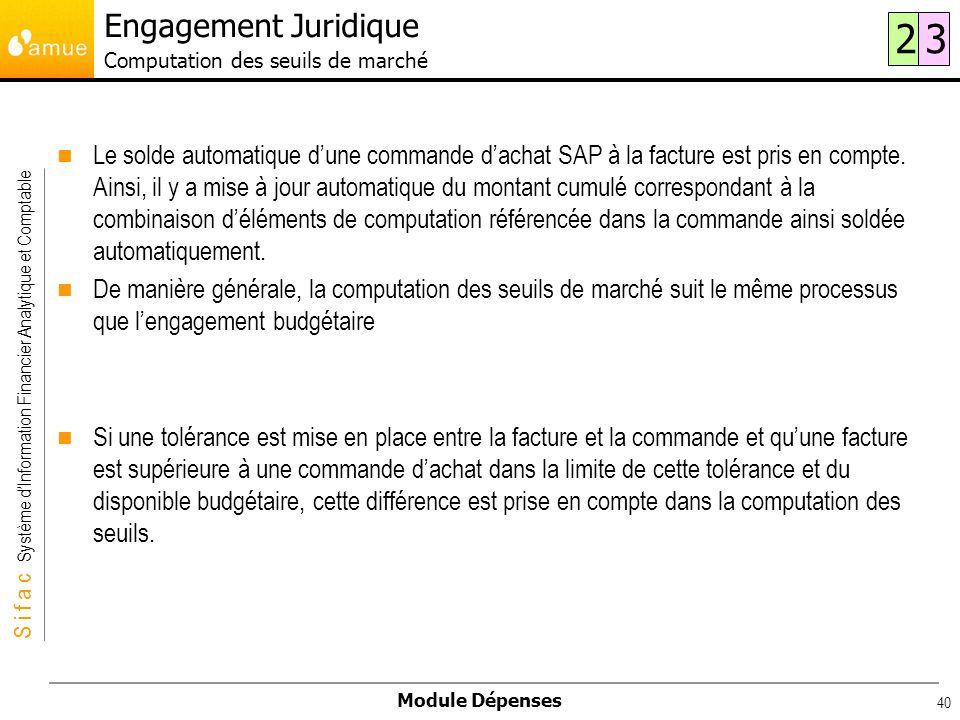 S i f a c Système dInformation Financier Analytique et Comptable Module Dépenses 40 Le solde automatique dune commande dachat SAP à la facture est pri