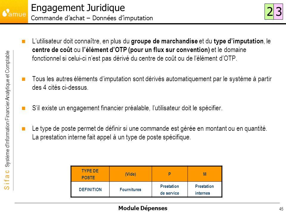 S i f a c Système dInformation Financier Analytique et Comptable Module Dépenses 45 Lutilisateur doit connaître, en plus du groupe de marchandise et d