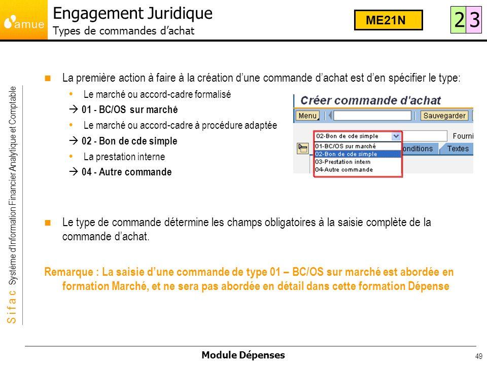 S i f a c Système dInformation Financier Analytique et Comptable Module Dépenses 49 La première action à faire à la création dune commande dachat est
