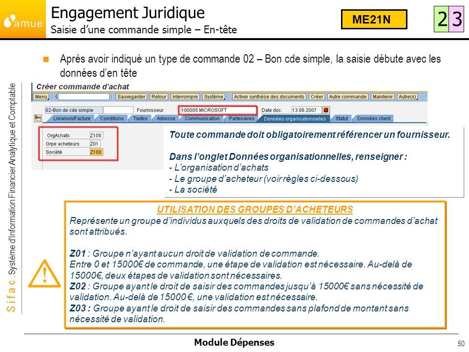 S i f a c Système dInformation Financier Analytique et Comptable Module Dépenses 50 Toute commande doit obligatoirement référencer un fournisseur. Dan