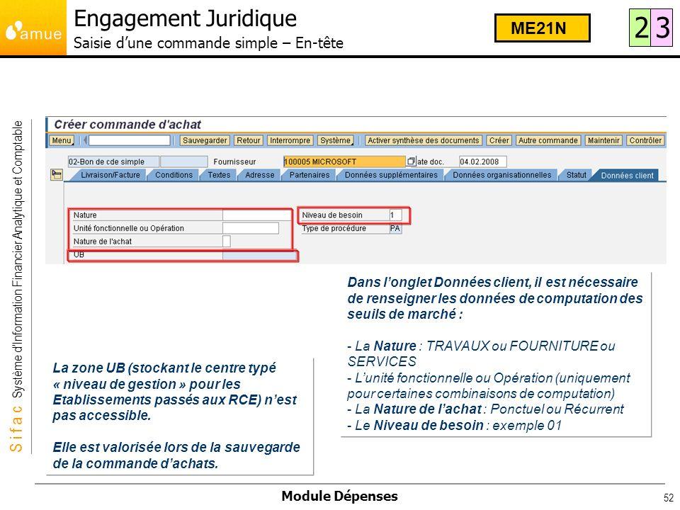 S i f a c Système dInformation Financier Analytique et Comptable Module Dépenses 52 Dans longlet Données client, il est nécessaire de renseigner les d